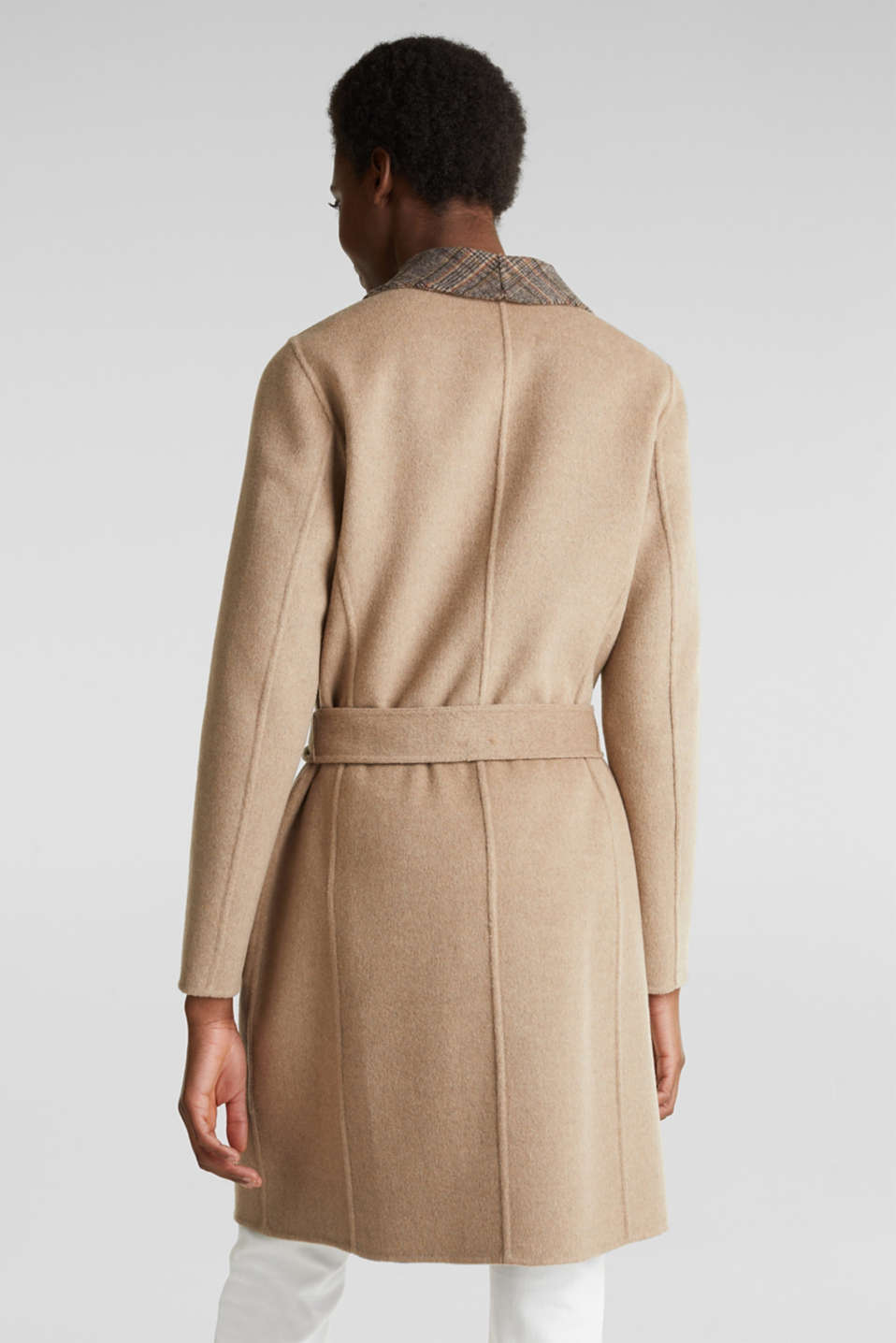 Made of blended wool: Coat with check details, BEIGE 5, detail image number 2