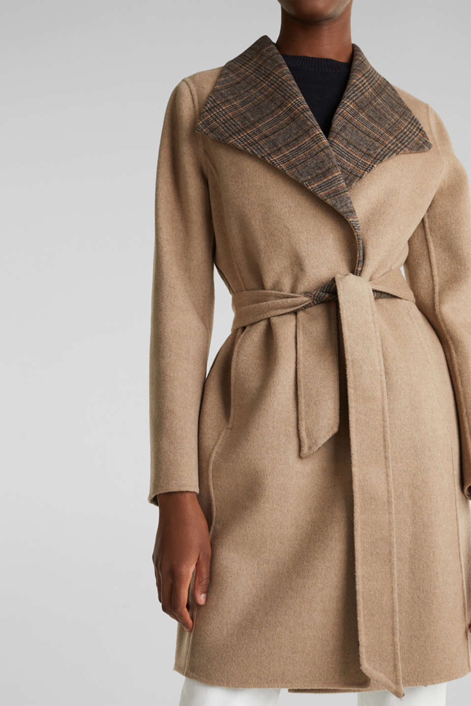 Made of blended wool: Coat with check details, BEIGE 5, detail image number 5