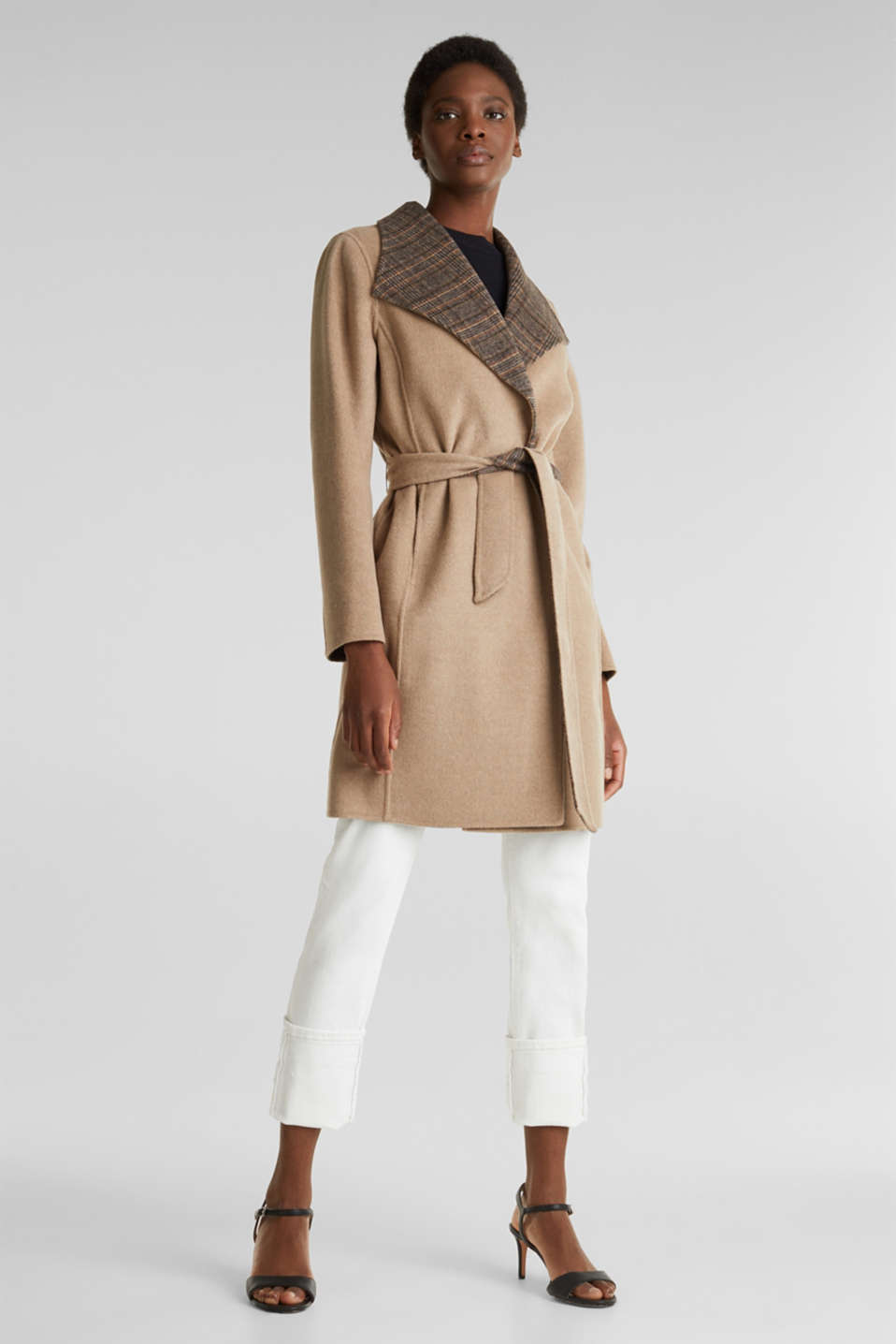 Made of blended wool: Coat with check details, BEIGE 5, detail image number 1