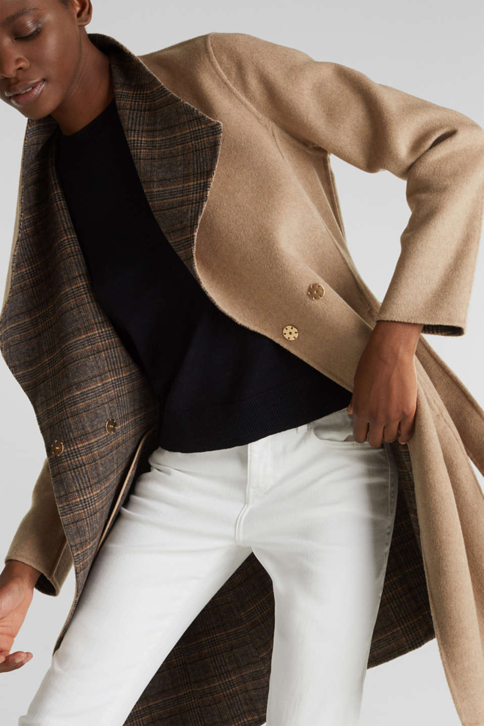 Made of blended wool: Coat with check details, BEIGE 5, detail image number 4