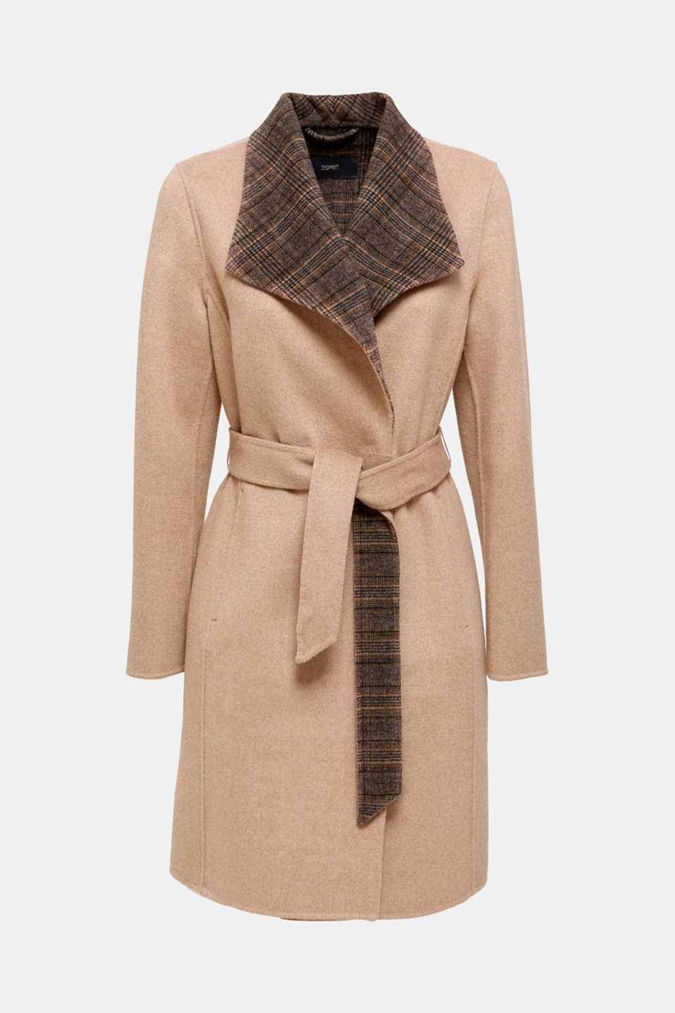 Made of blended wool: Coat with check details, BEIGE 5, detail image number 9