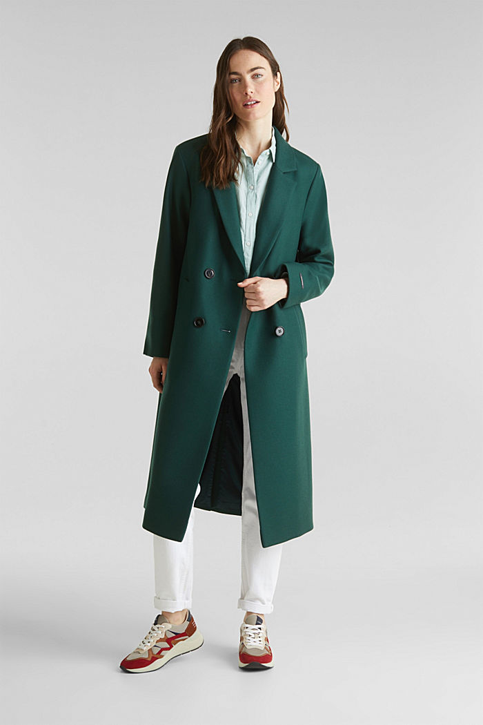 Wool blend: Coat made of Italian yarn, BOTTLE GREEN, detail image number 0