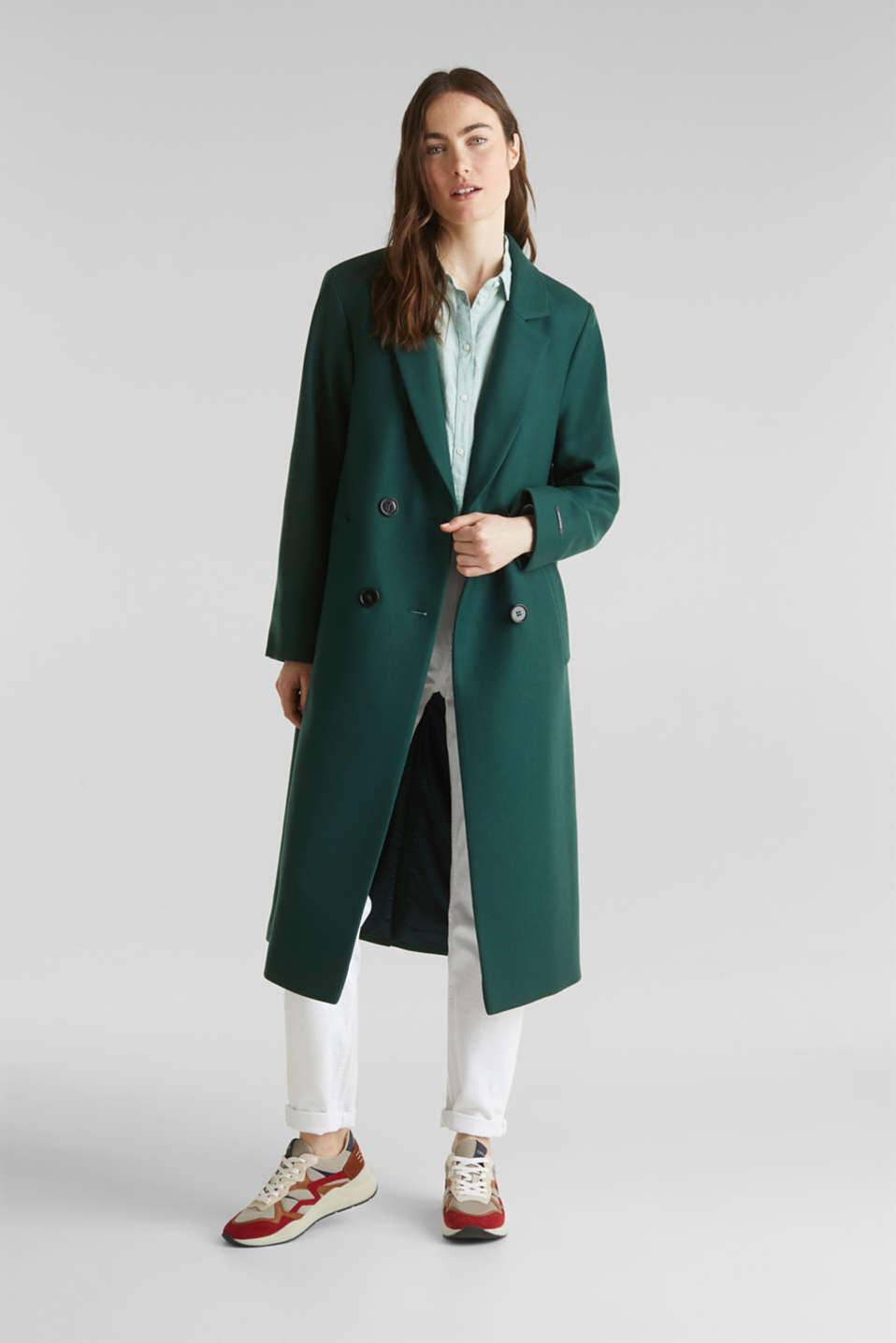 Wool blend: Coat made of Italian yarn, BOTTLE GREEN, detail image number 0