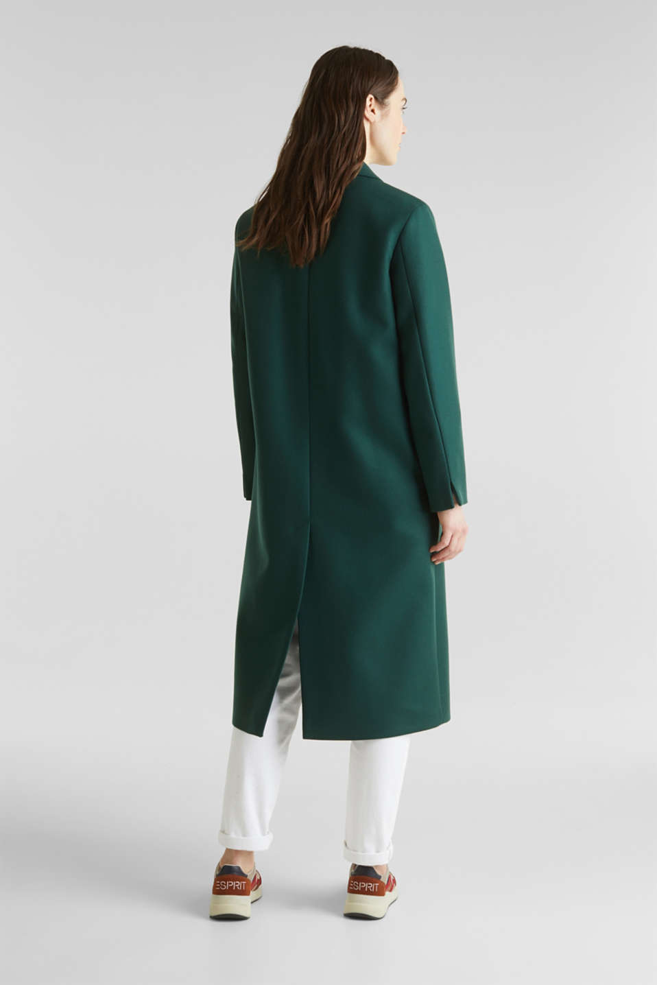 Wool blend: Coat made of Italian yarn, BOTTLE GREEN, detail image number 3