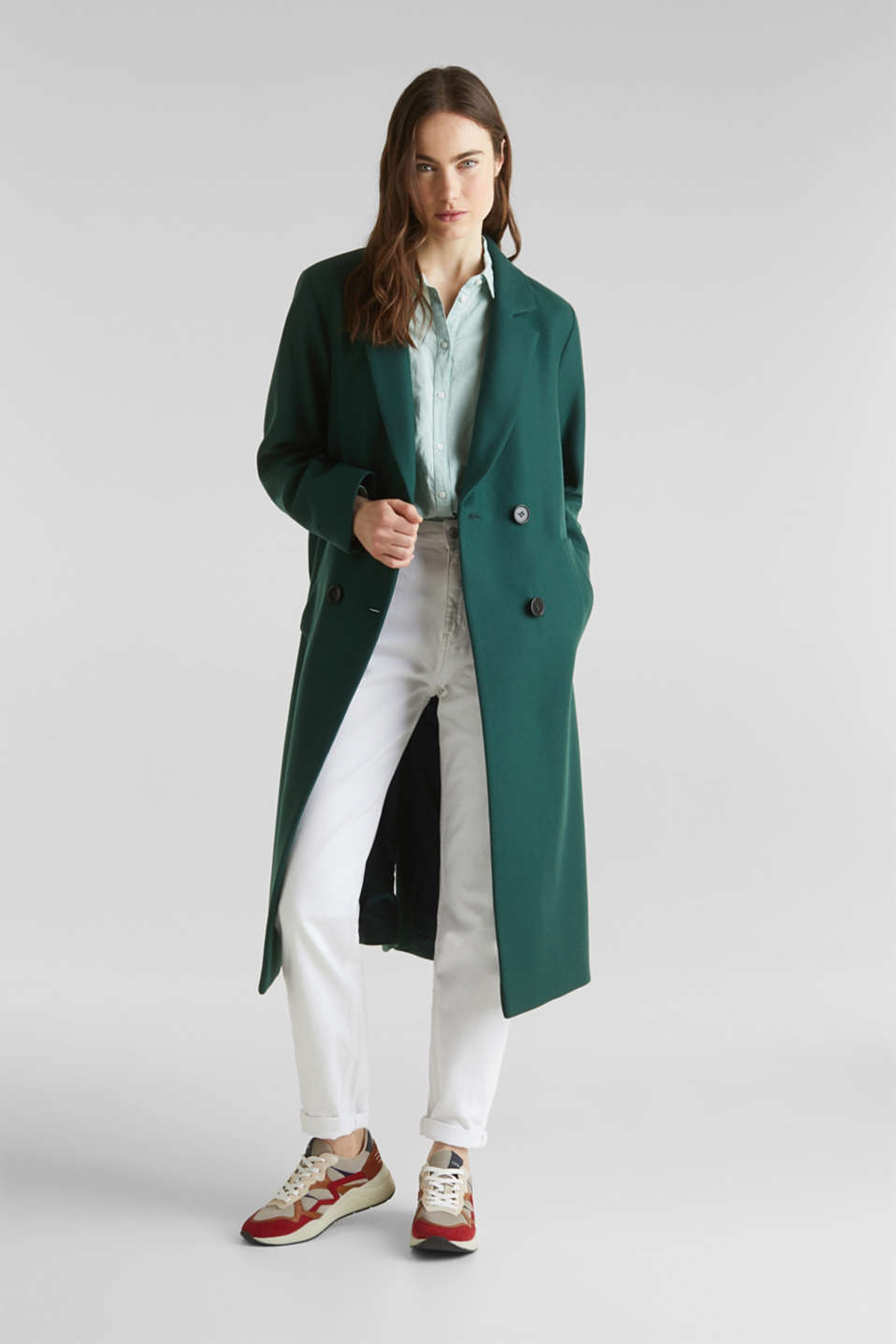 Wool blend: Coat made of Italian yarn, BOTTLE GREEN, detail image number 1