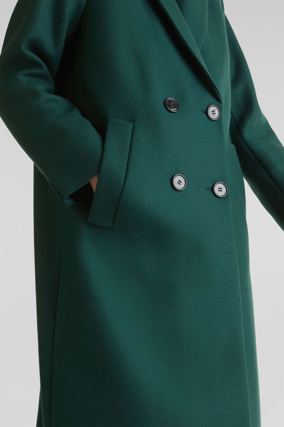 Wool blend: Coat made of Italian yarn, BOTTLE GREEN, detail image number 2