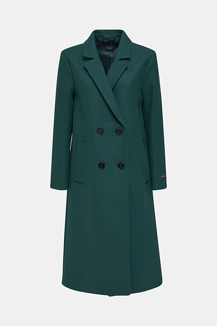 Wool blend: Coat made of Italian yarn, BOTTLE GREEN, detail image number 6