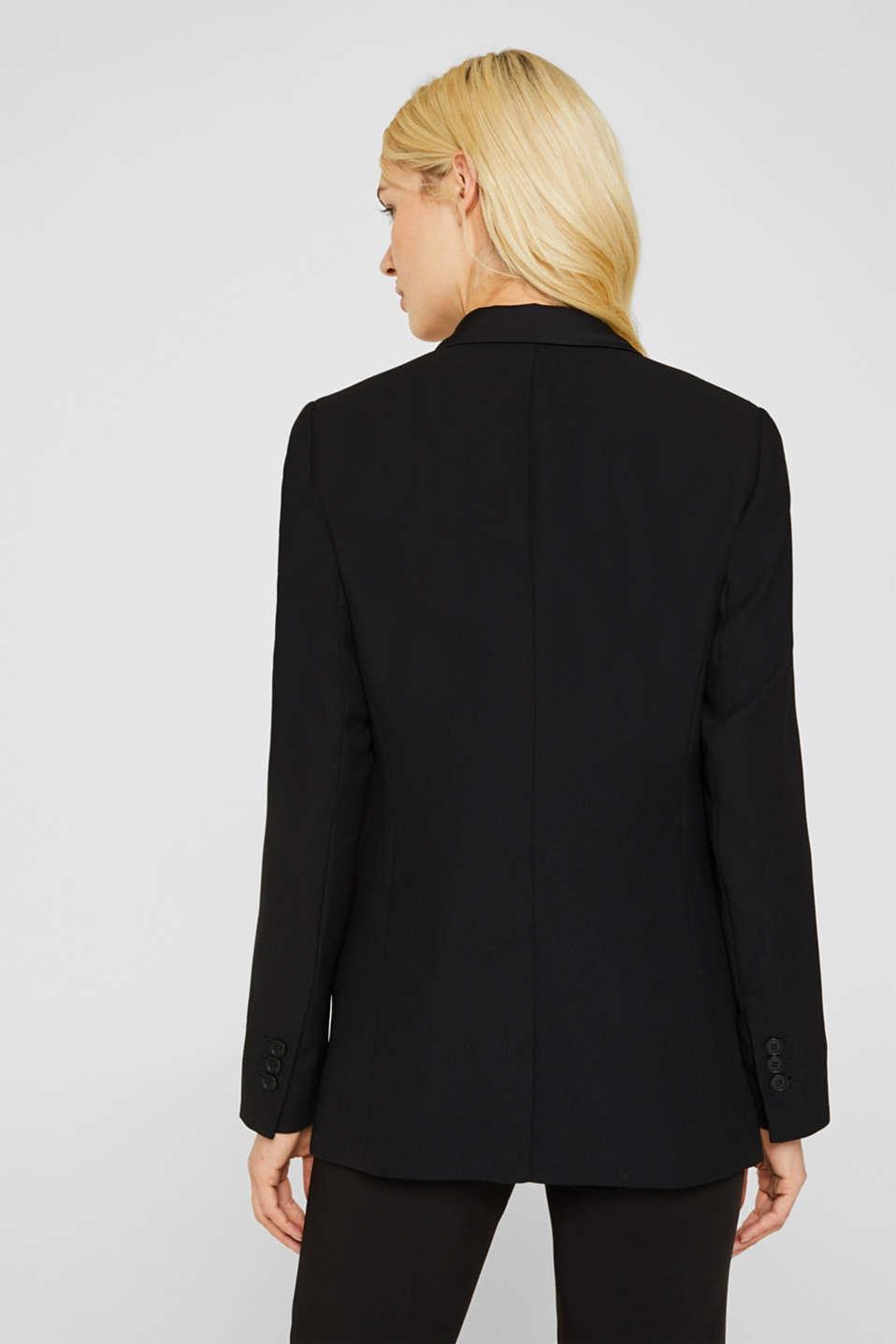 Blazer with satin lapel collar, BLACK, detail image number 3