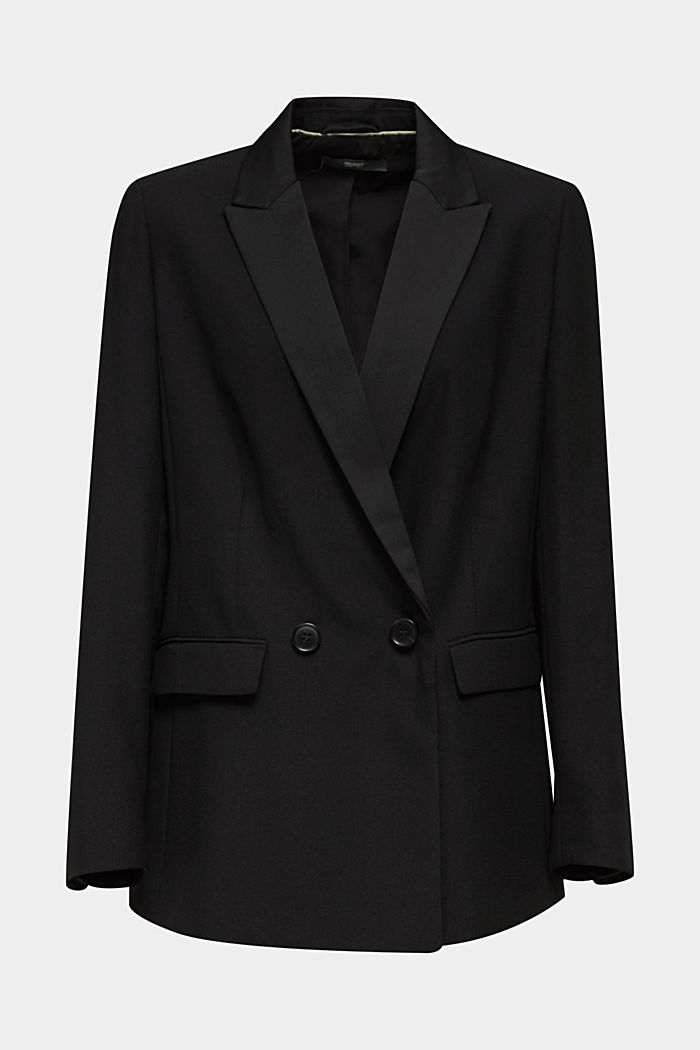 Blazer with satin lapel collar