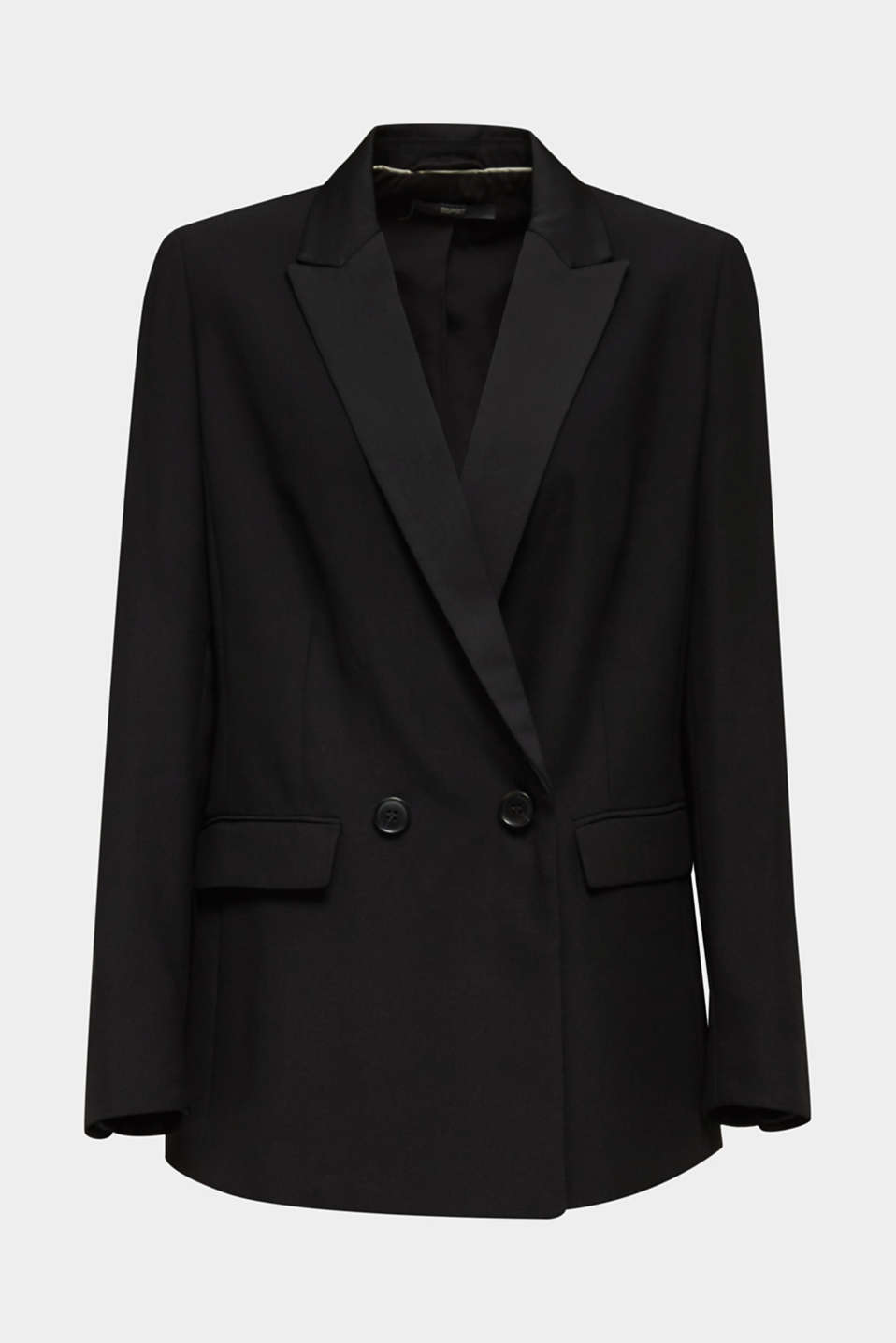 Blazer with satin lapel collar, BLACK, detail image number 6