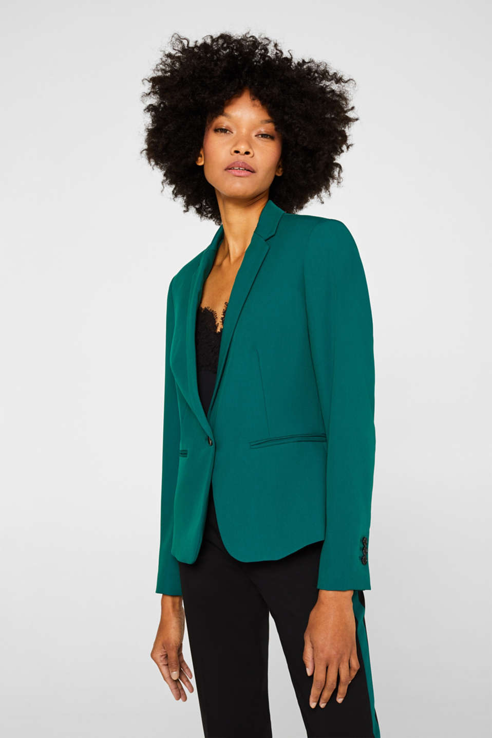 One-button blazer with stretch, BOTTLE GREEN, detail image number 0