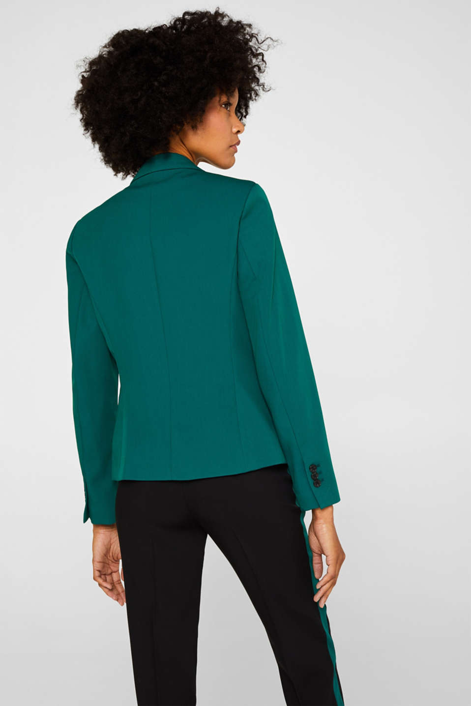 One-button blazer with stretch, BOTTLE GREEN, detail image number 3