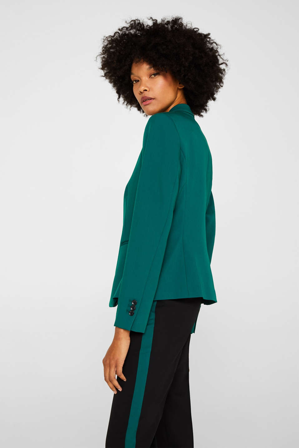 One-button blazer with stretch, BOTTLE GREEN, detail image number 5