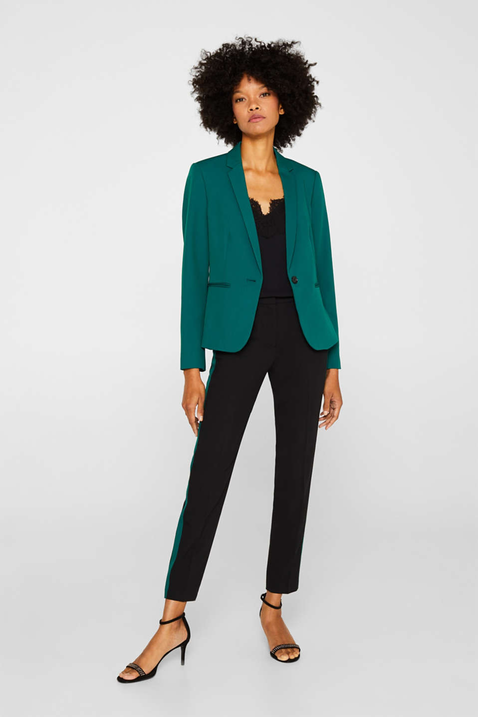 One-button blazer with stretch, BOTTLE GREEN, detail image number 1