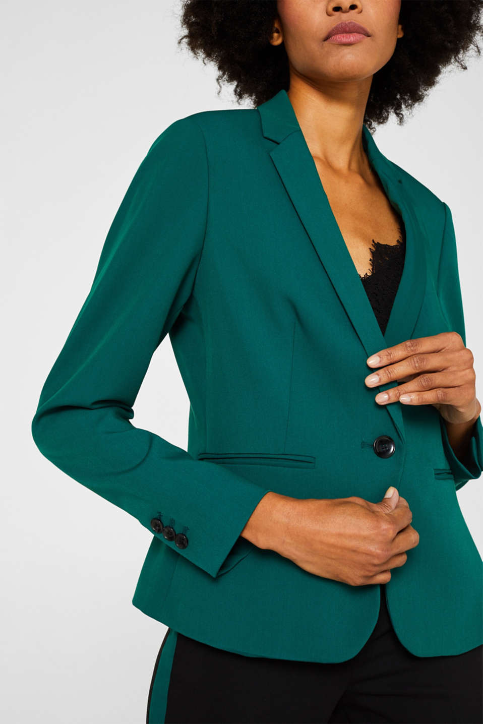 One-button blazer with stretch, BOTTLE GREEN, detail image number 2
