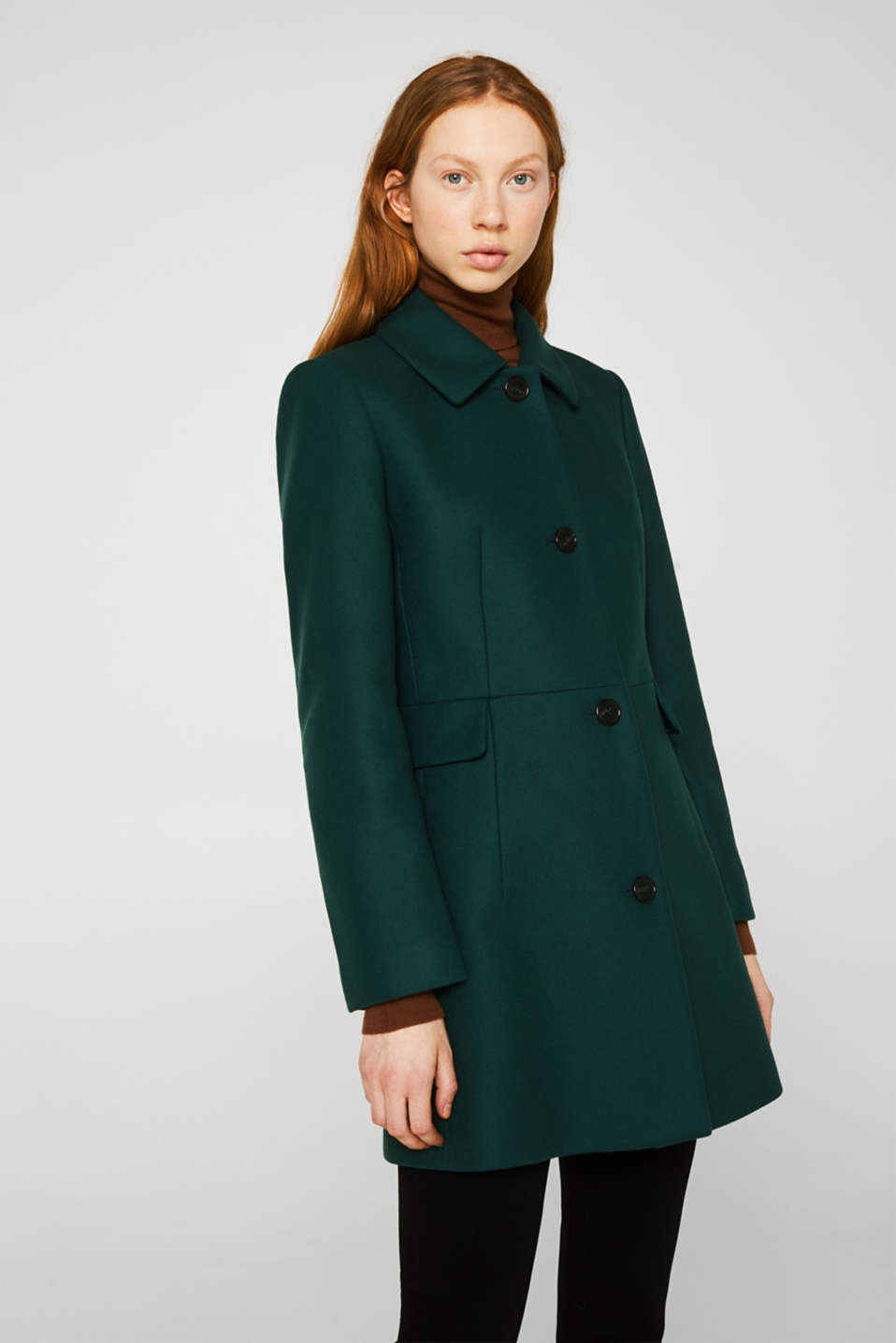 Made of blended wool: coat made of Italian yarn, BOTTLE GREEN, detail image number 0
