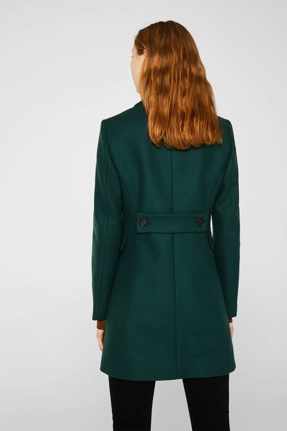 Made of blended wool: coat made of Italian yarn, BOTTLE GREEN, detail image number 3