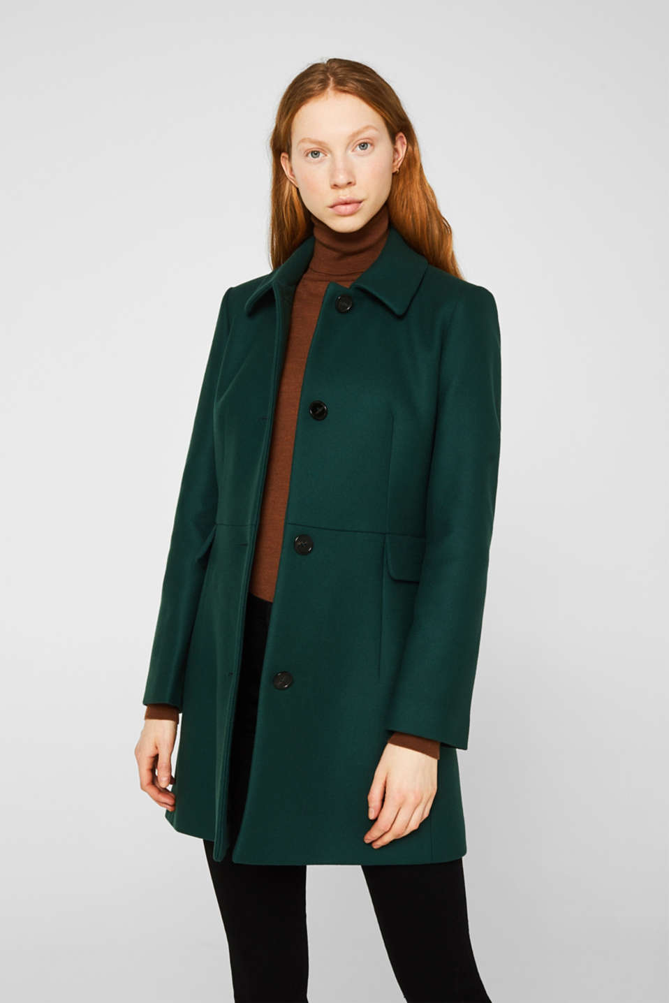 Made of blended wool: coat made of Italian yarn, BOTTLE GREEN, detail image number 5
