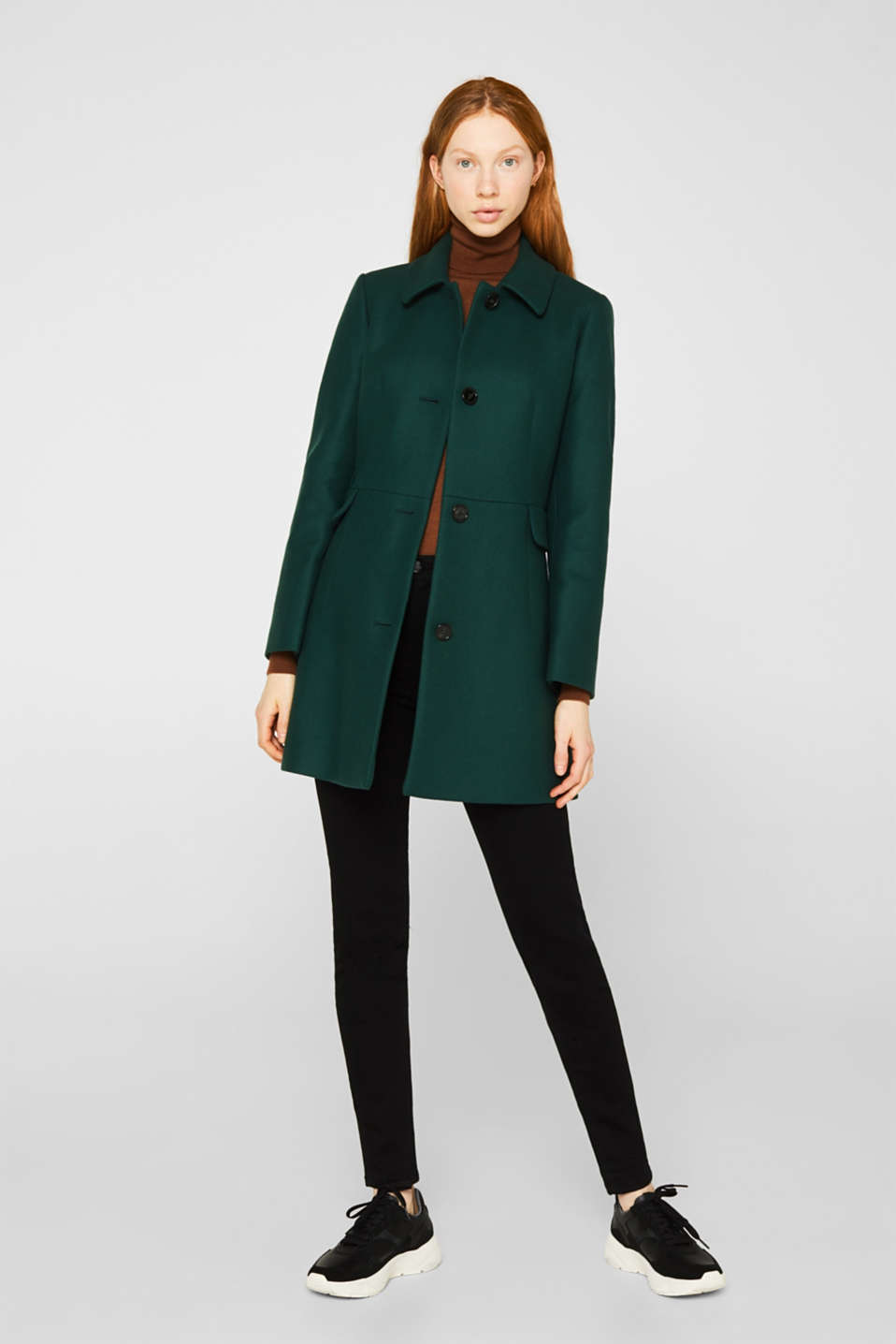 Made of blended wool: coat made of Italian yarn, BOTTLE GREEN, detail image number 1
