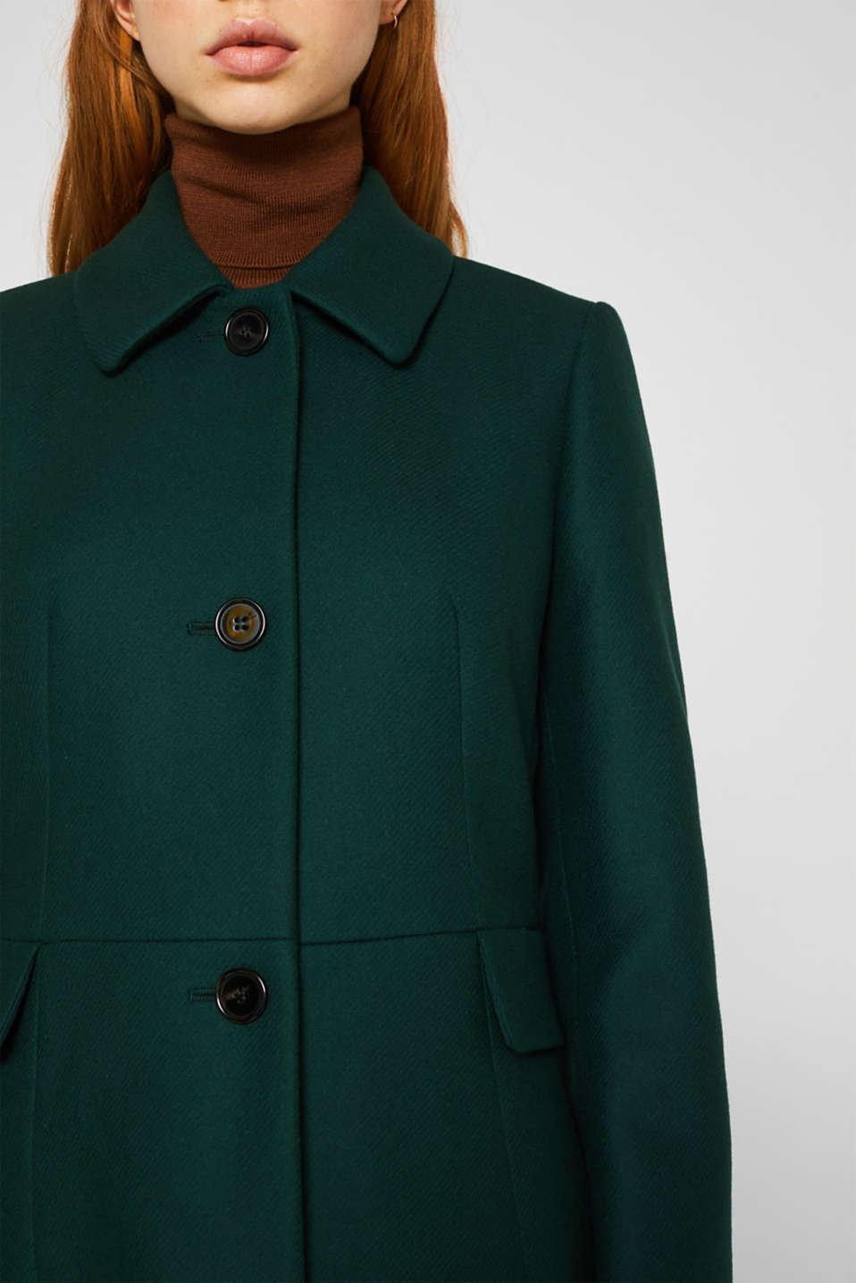 Made of blended wool: coat made of Italian yarn, BOTTLE GREEN, detail image number 2