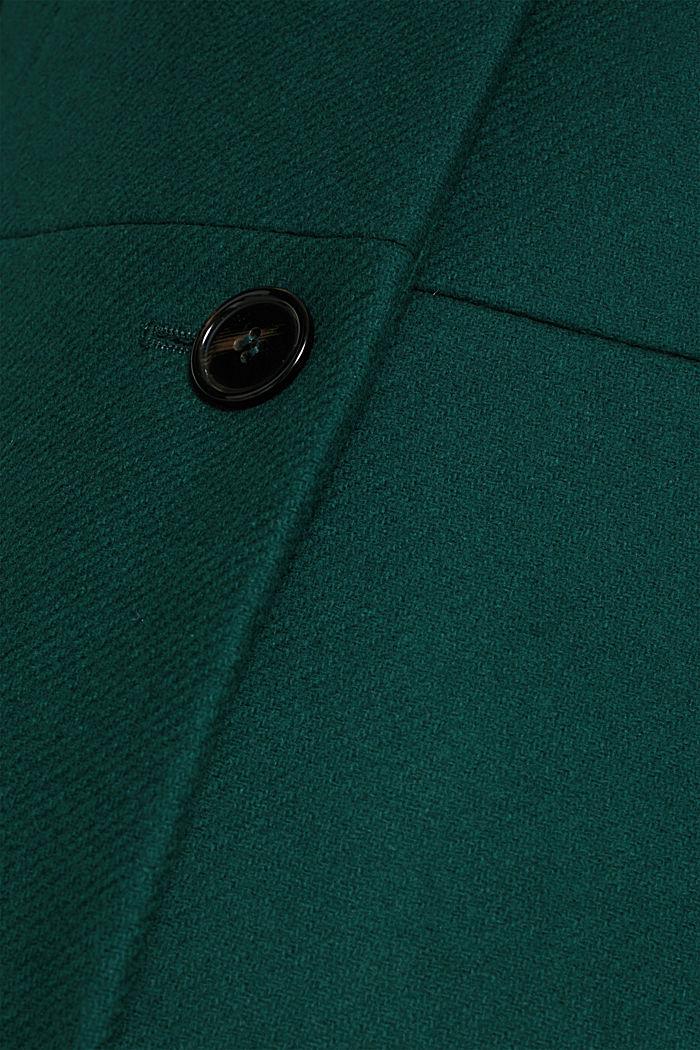 Aus Woll-Mix: Mantel mit italienischem Garn, BOTTLE GREEN, detail image number 4