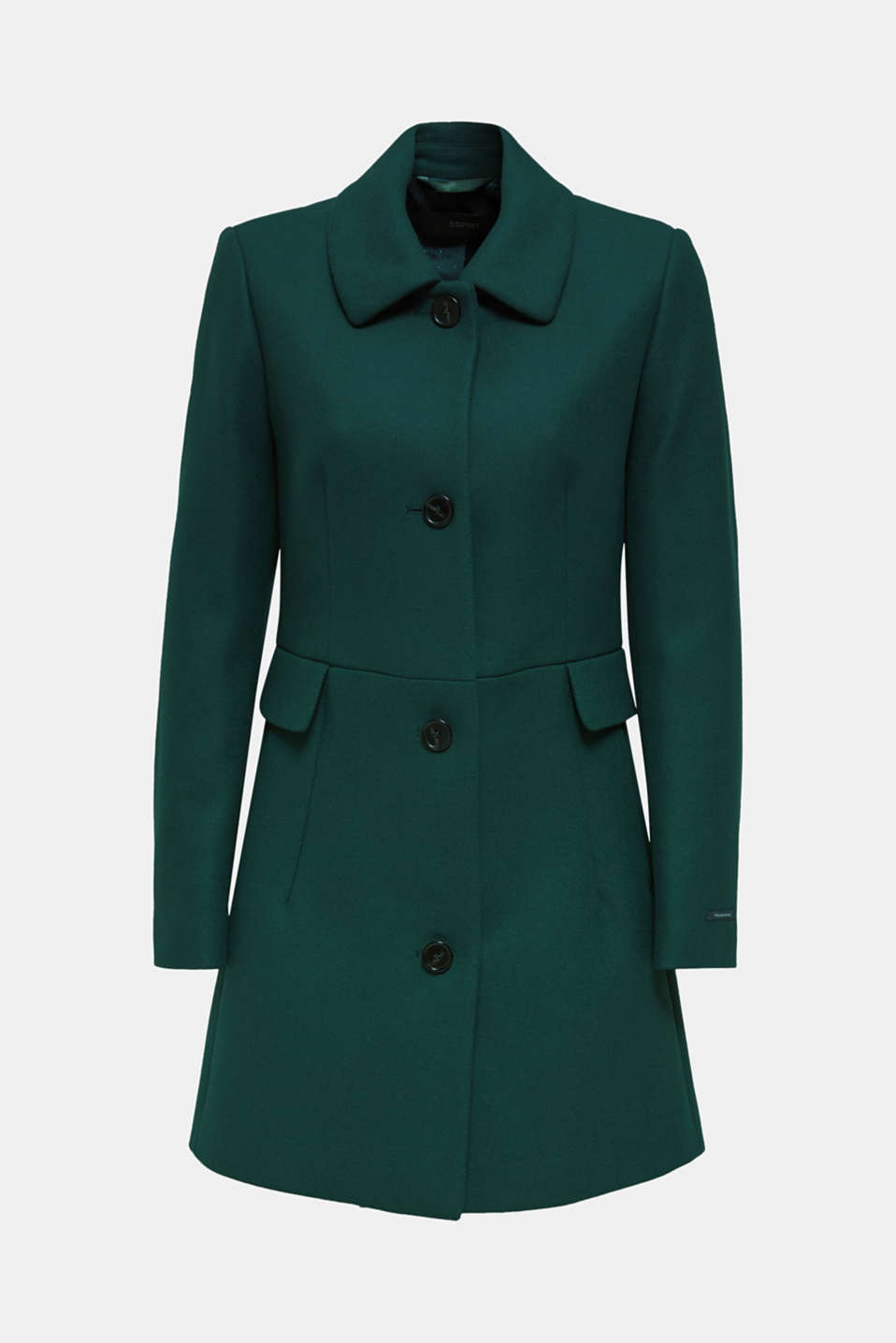 Made of blended wool: coat made of Italian yarn, BOTTLE GREEN, detail image number 6