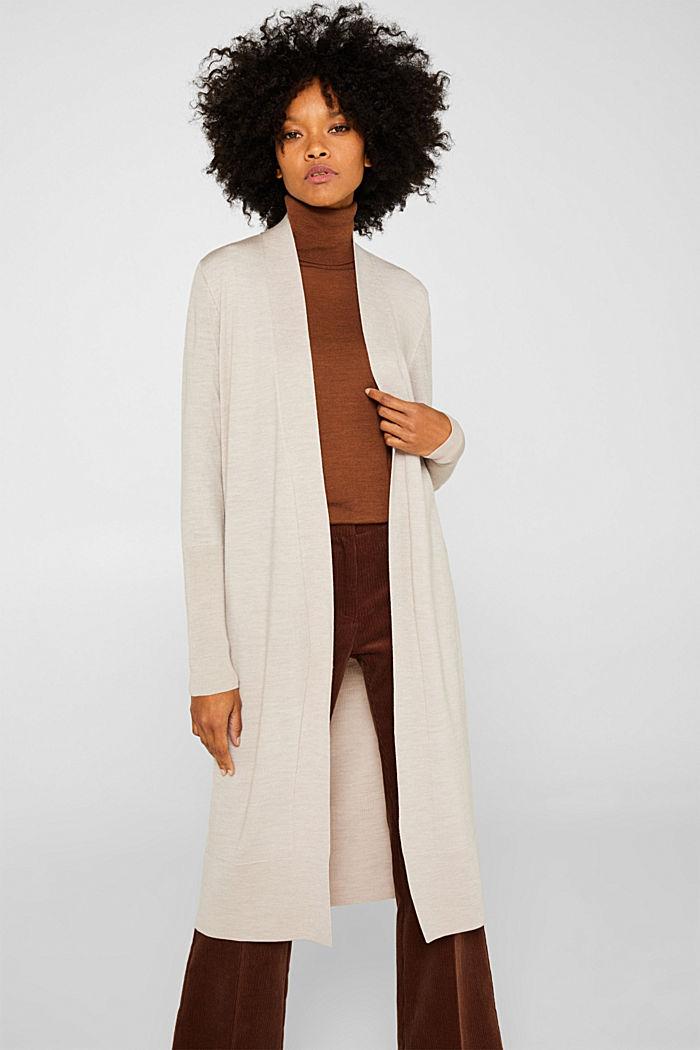 Mit responsible Wool: Mantel aus feinem Strick