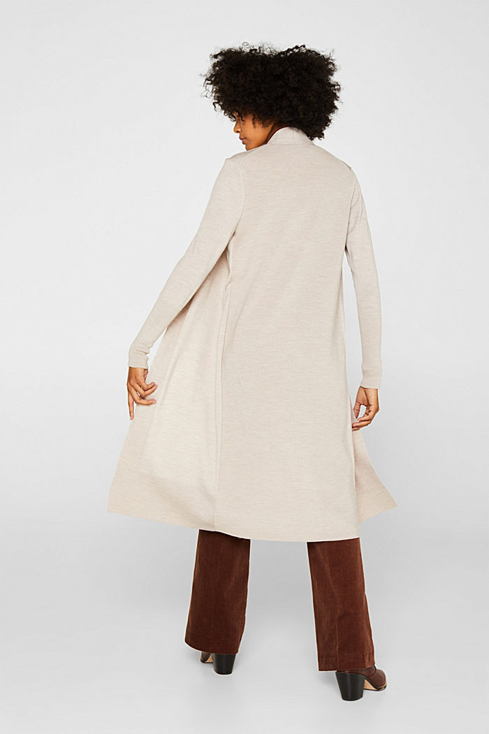With responsible wool: fine knit coat, NUDE, detail image number 3