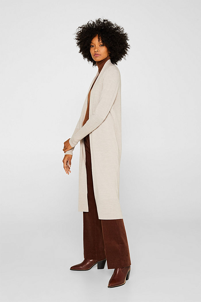 With responsible wool: fine knit coat, NUDE, detail image number 1