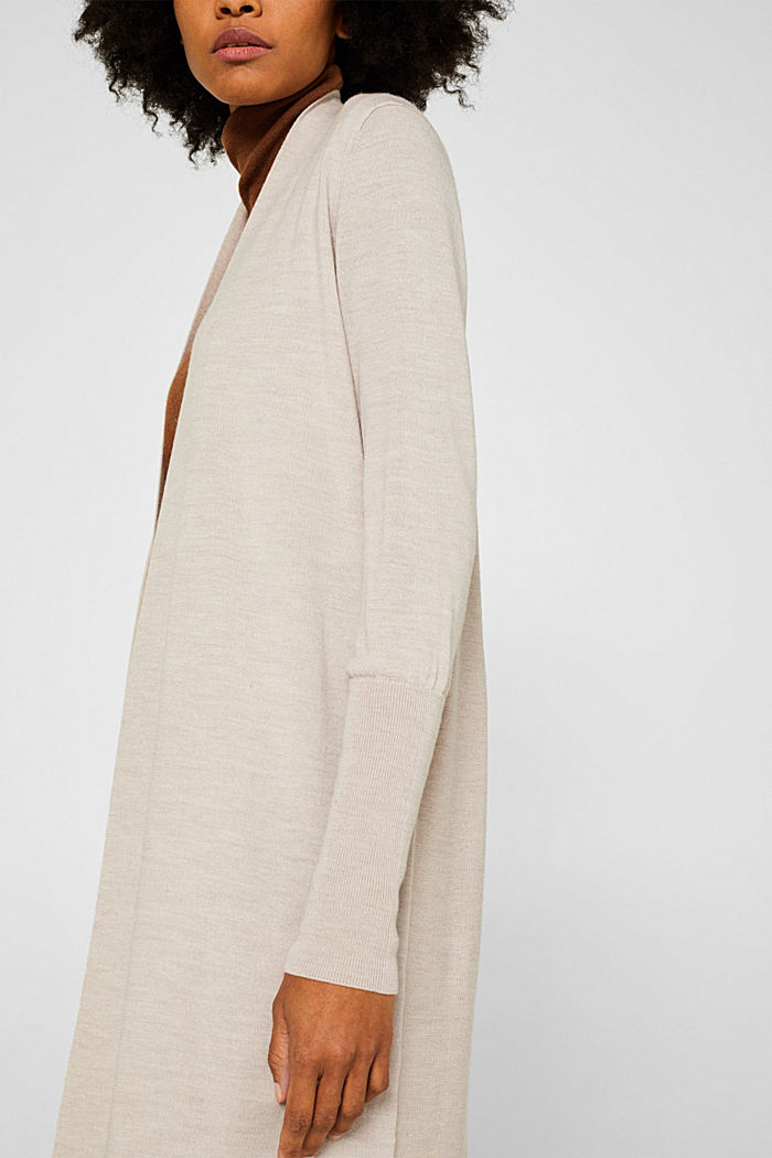 With responsible wool: fine knit coat, NUDE, detail image number 2