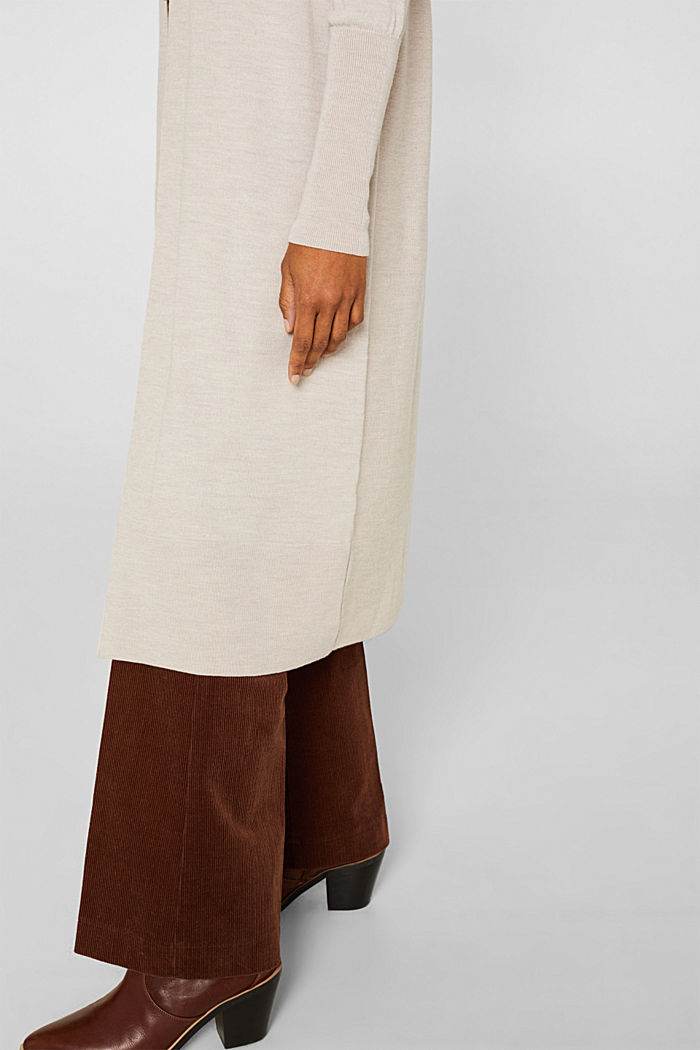 With responsible wool: fine knit coat, NUDE, detail image number 5