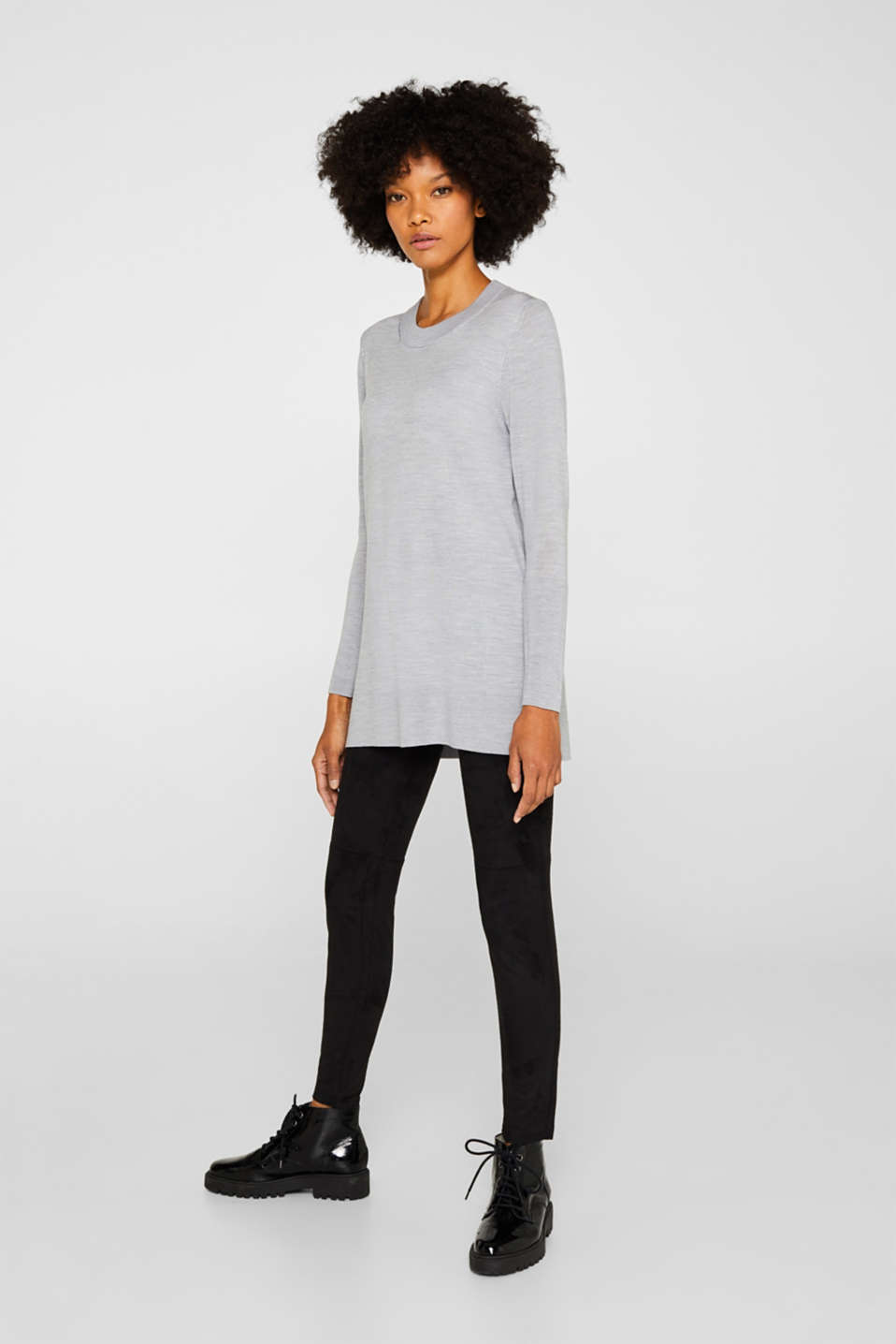 With responsible wool: long turtleneck jumper, LIGHT GREY 5, detail image number 0