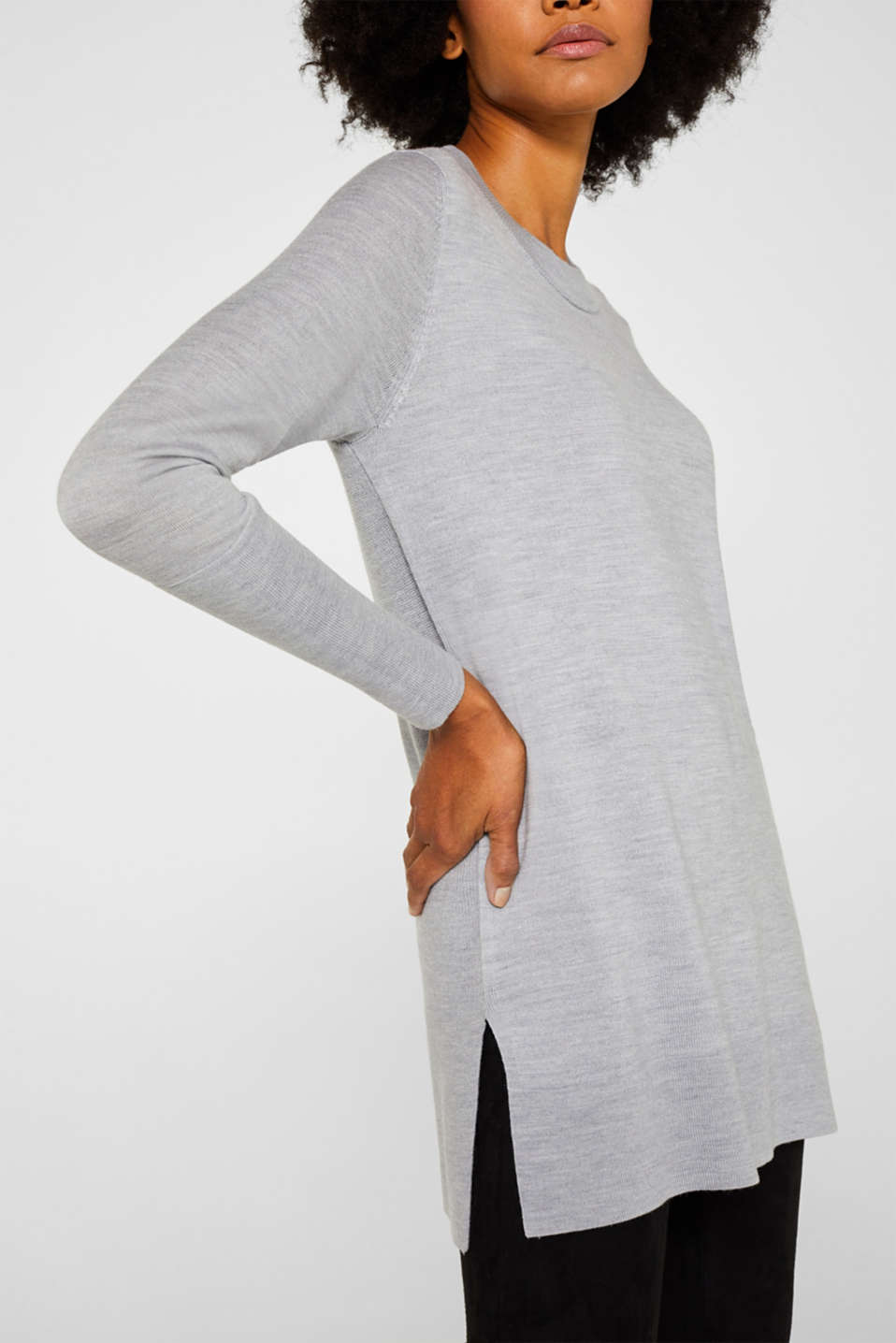 With responsible wool: long turtleneck jumper, LIGHT GREY 5, detail image number 2