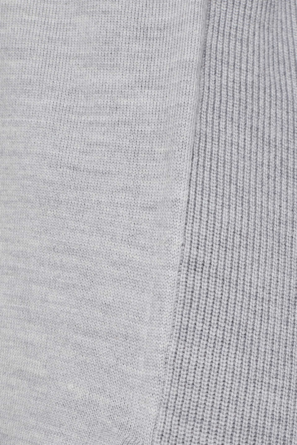 With responsible wool: long turtleneck jumper, LIGHT GREY 5, detail image number 4