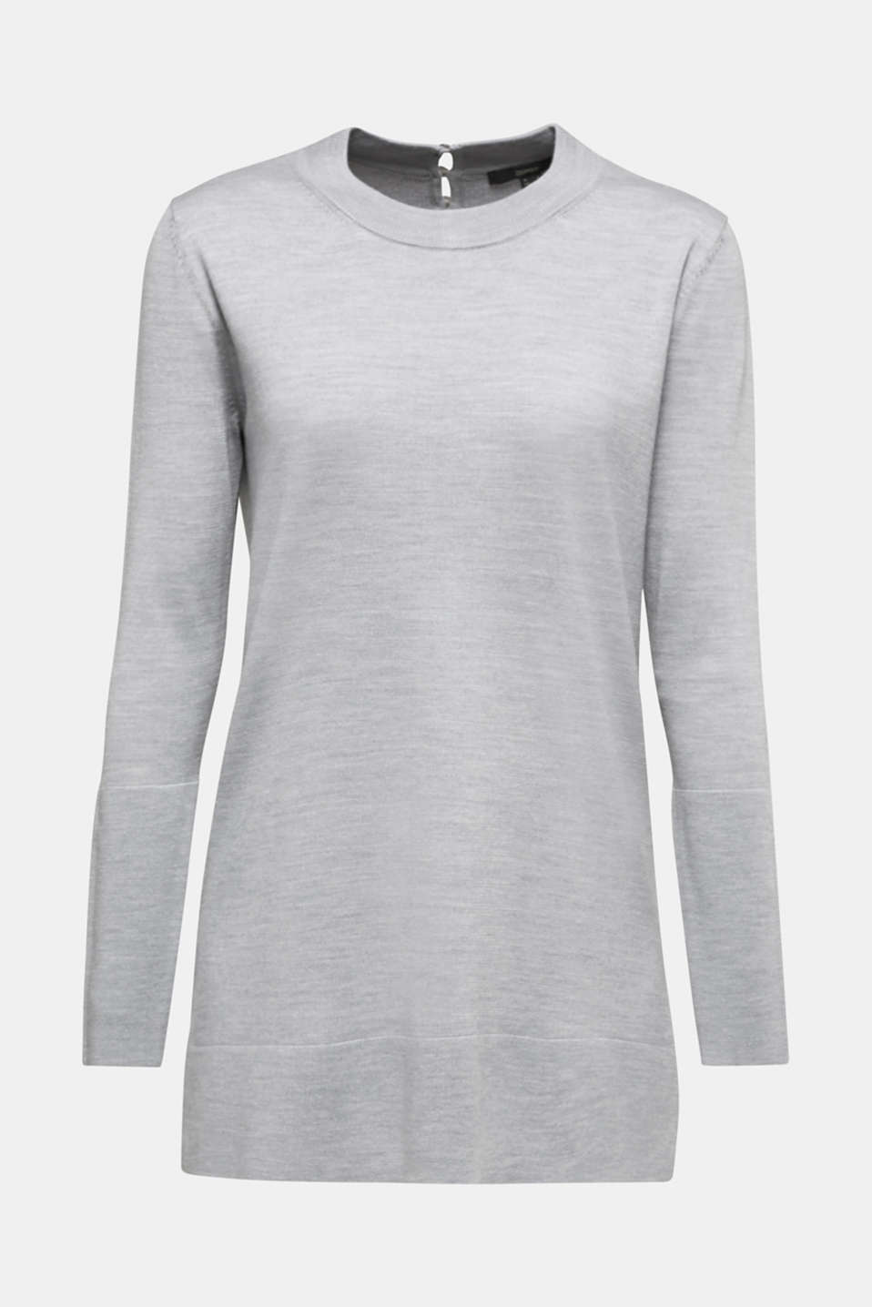 With responsible wool: long turtleneck jumper, LIGHT GREY 5, detail image number 5