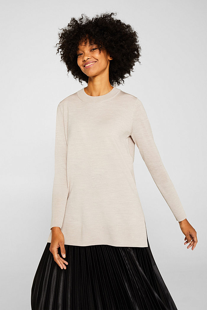 With responsible wool: long turtleneck jumper, NUDE, detail image number 0