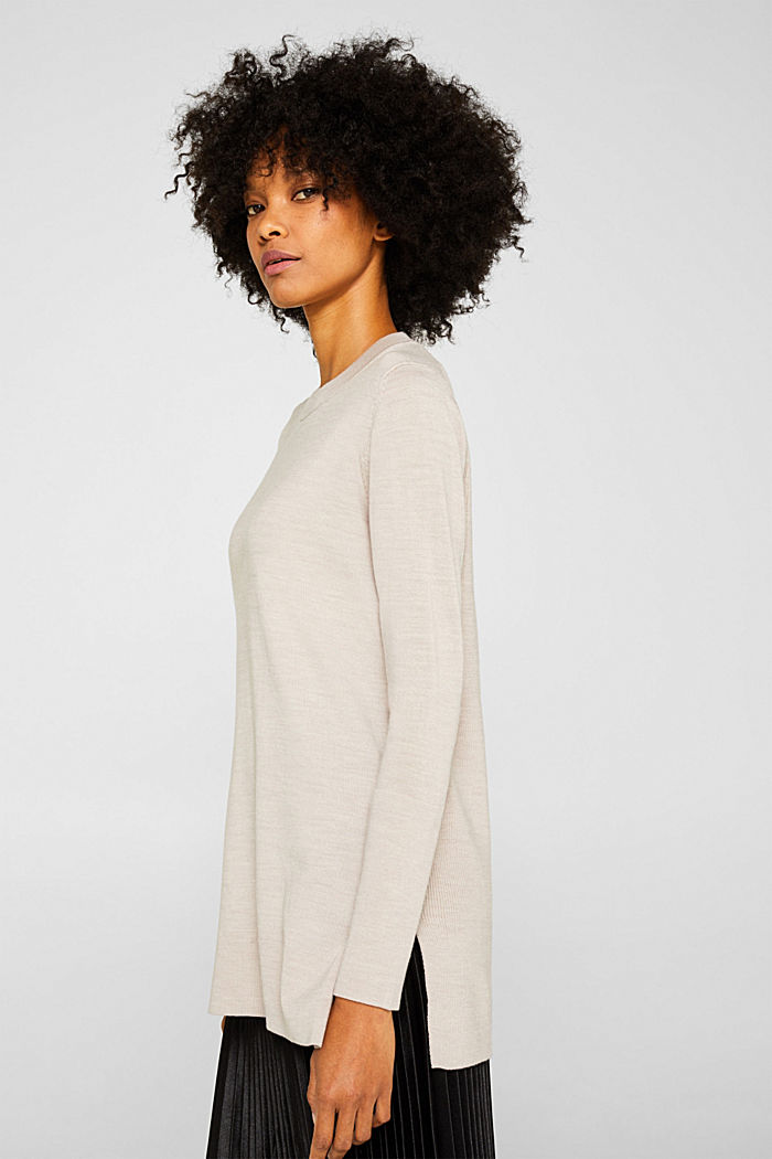 With responsible wool: long turtleneck jumper, NUDE, detail image number 5