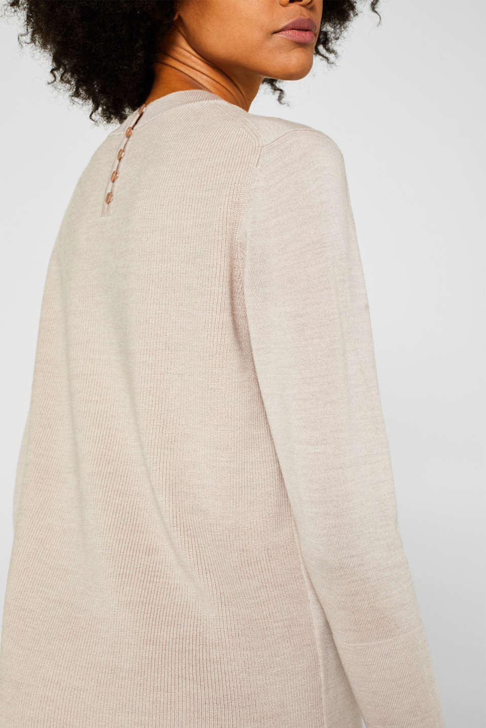 With responsible wool: long turtleneck jumper, NUDE 5, detail image number 2
