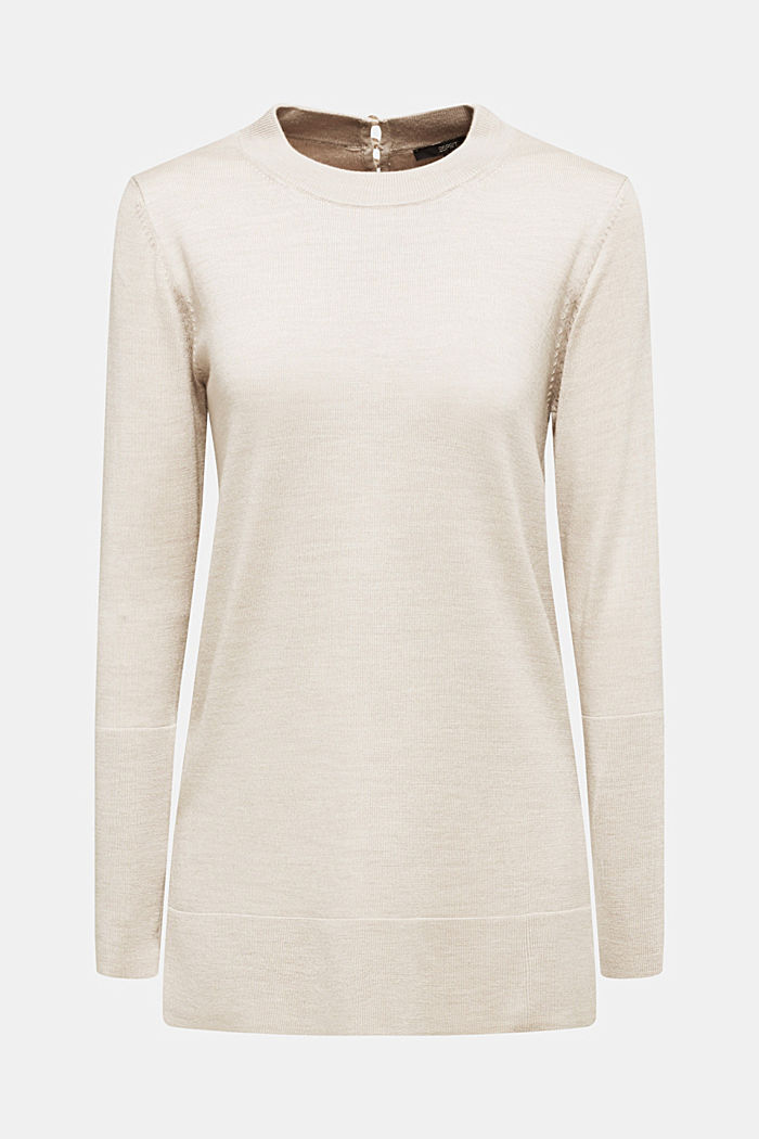 Mit responsible Wool: langer Turtleneck-Pullover, NUDE, overview