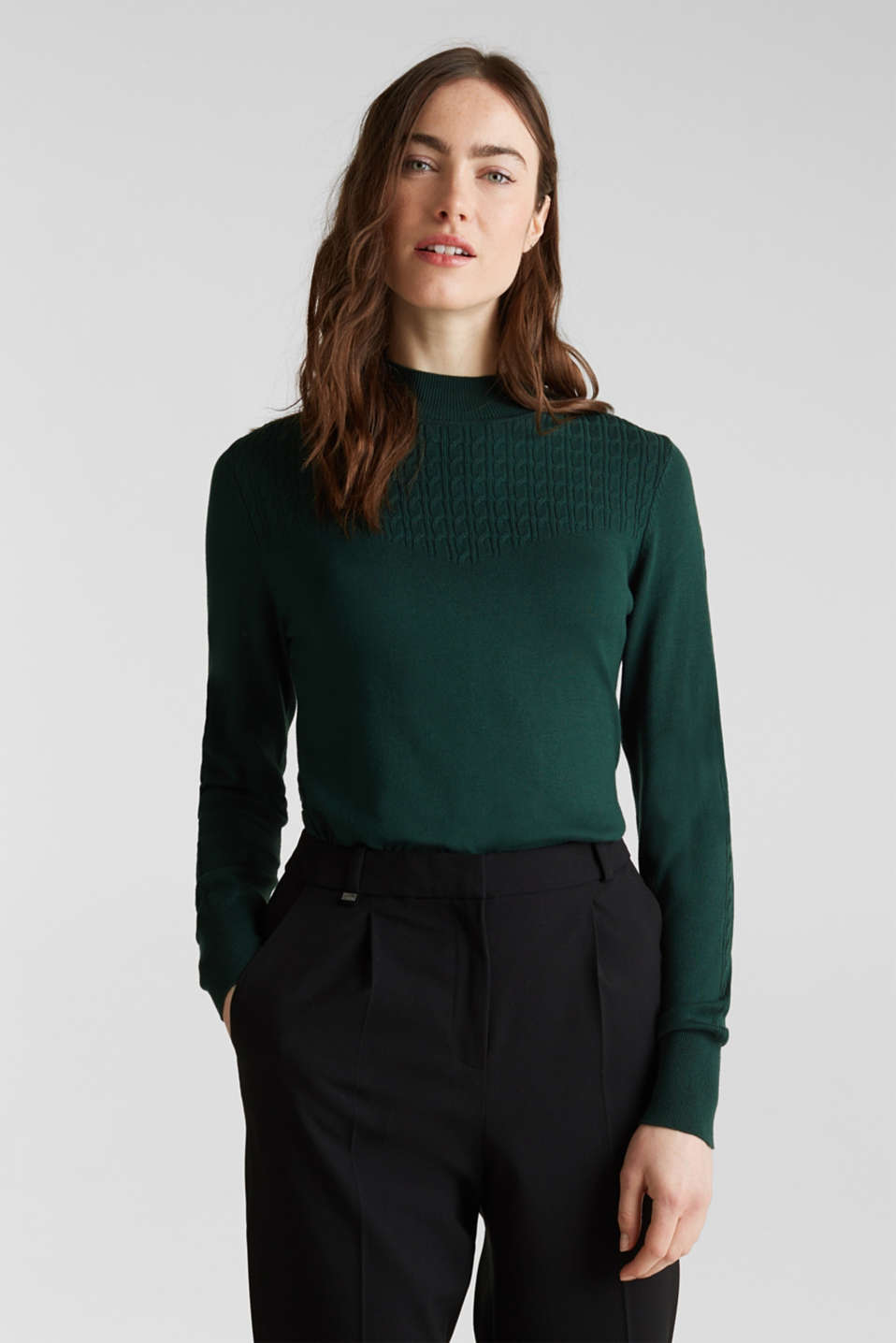 Esprit - Stretch jumper with LENZING™ ECOVERO