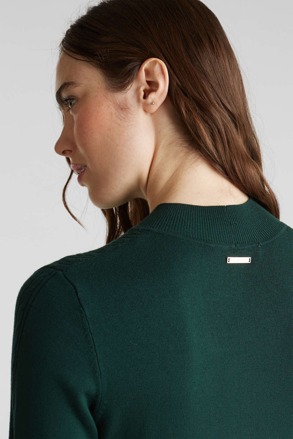 Stretch jumper with LENZING™ ECOVERO, BOTTLE GREEN, detail image number 2