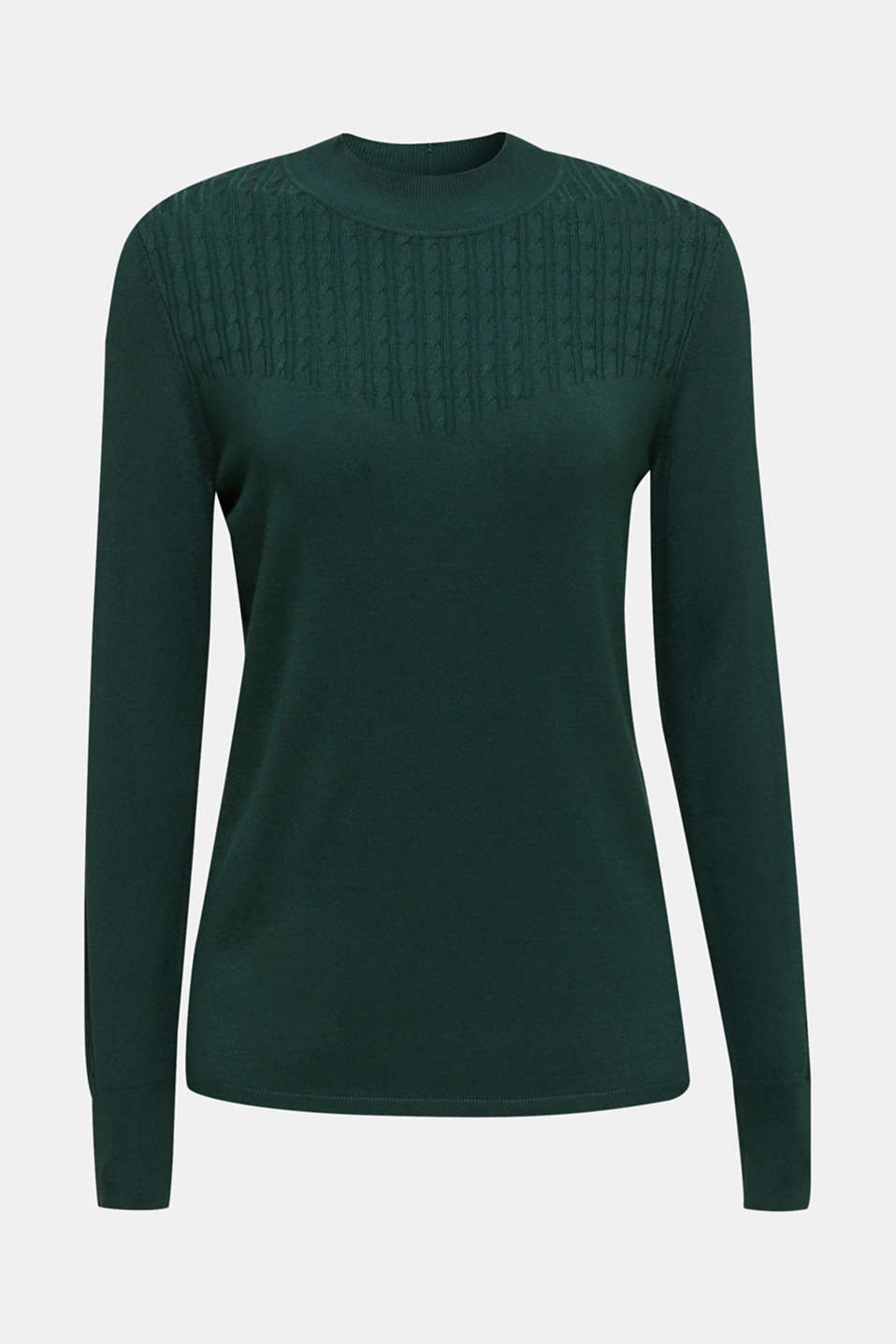 Stretch jumper with LENZING™ ECOVERO, BOTTLE GREEN, detail image number 5