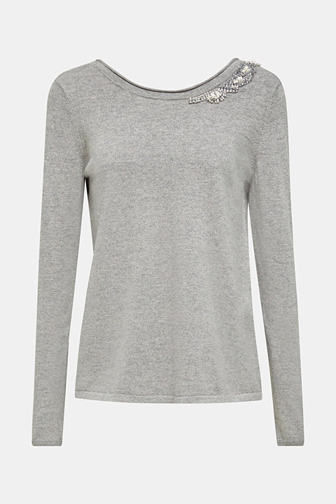 Cashmere blend: Jumper with jewellery embellishments