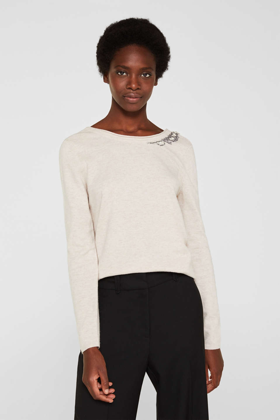 Cashmere blend: Jumper with jewellery embellishments, NUDE 5, detail image number 0