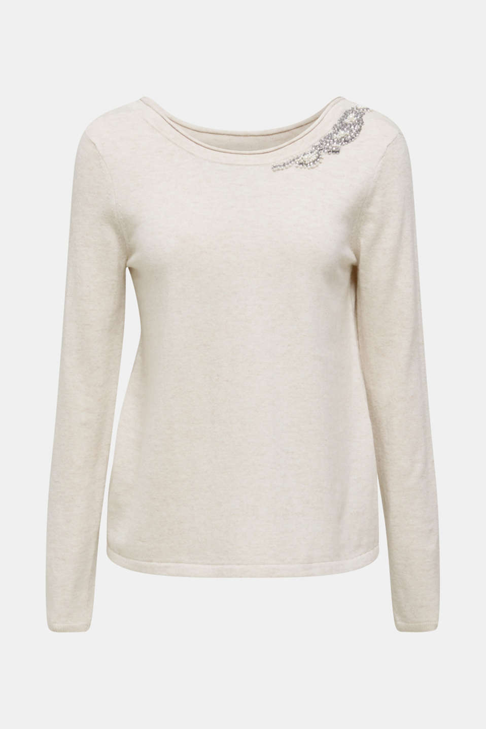 Cashmere blend: Jumper with jewellery embellishments, NUDE 5, detail image number 6