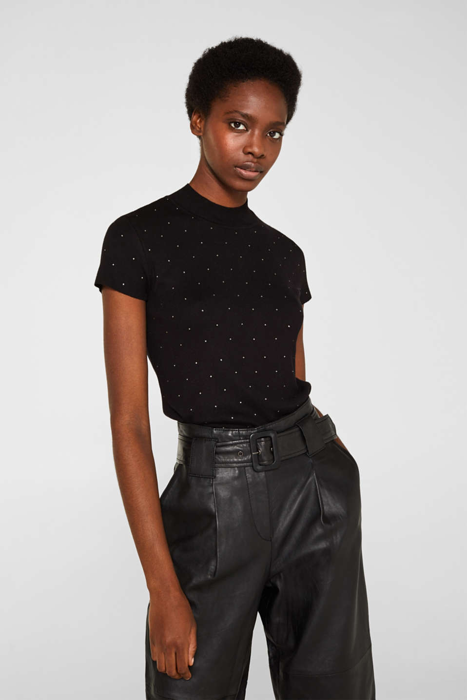 Short-sleeved jumper with rhinestones and LENZING™ ECOVERO™