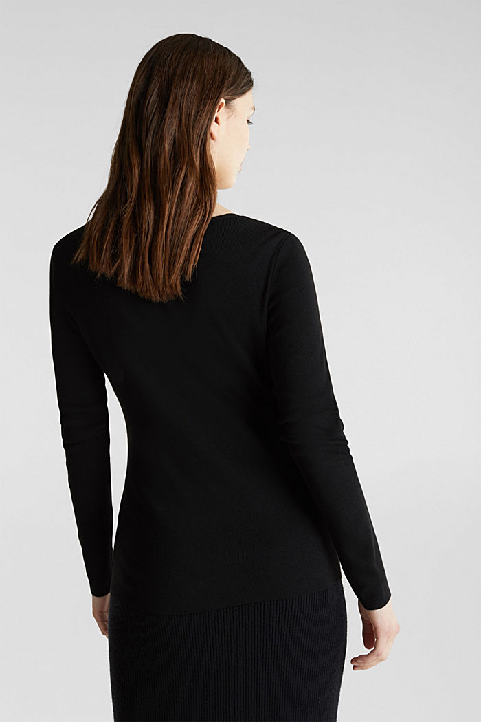 Cashmere blend jumper with a square neckline, BLACK, detail image number 3