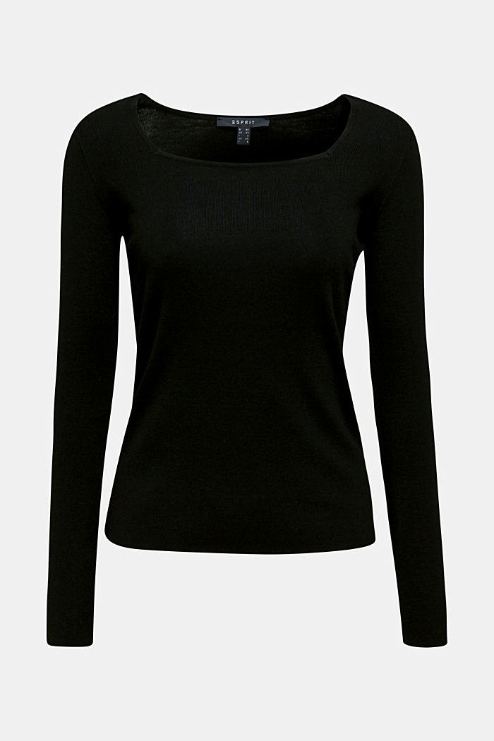 Cashmere blend jumper with a square neckline, BLACK, overview