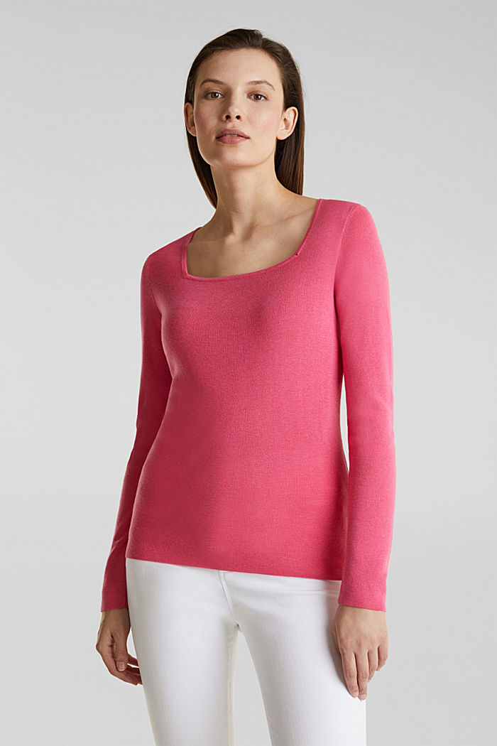 Cashmere blend jumper with a square neckline, PINK, detail image number 0