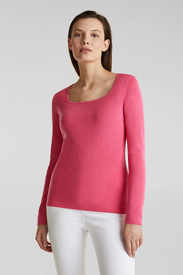 Karree-Pullover aus Kaschmir-Blend, PINK, detail image number 0